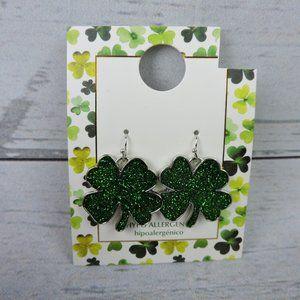 St. Patrick's Day Glitter 4 Leaf Clover Earrings